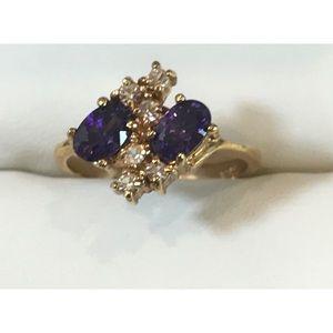 Vintage Purple Amethyst CZ Cocktail Ring